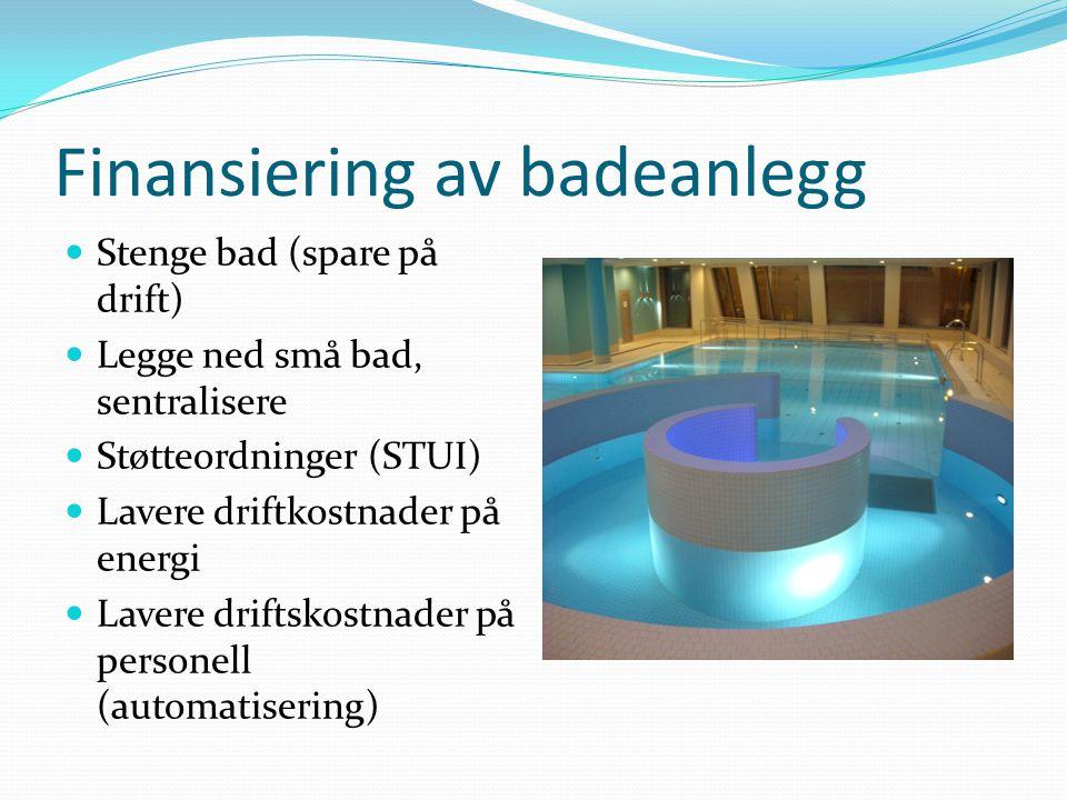 Finansiering av badeanlegg  Stenge bad (spare på drift)  Legge ned små bad, sentralisere  Støtteordninger (STUI)  Lavere driftkostnader på energi