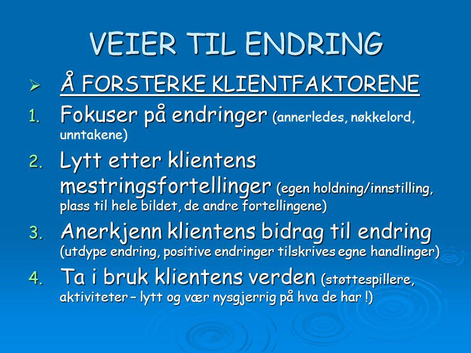 VEIER TIL ENDRING  Å FORSTERKE KLIENTFAKTORENE 1.