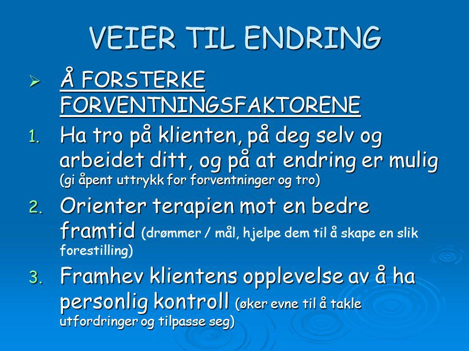 VEIER TIL ENDRING  Å FORSTERKE FORVENTNINGSFAKTORENE 1.
