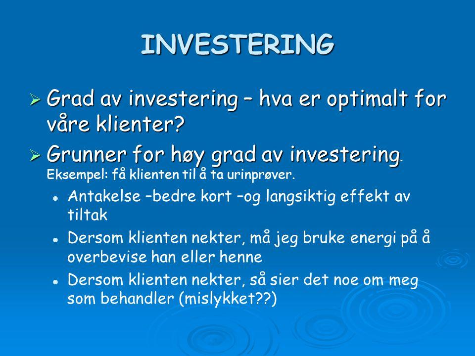 INVESTERING  Grad av investering – hva er optimalt for våre klienter.