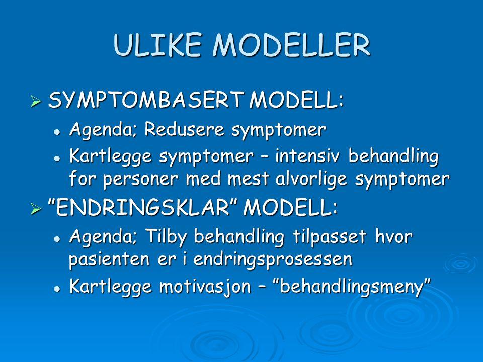 ULIKE MODELLER  SYMPTOMBASERT MODELL:  Agenda; Redusere symptomer  Kartlegge symptomer – intensiv behandling for personer med mest alvorlige symptomer  ENDRINGSKLAR MODELL:  Agenda; Tilby behandling tilpasset hvor pasienten er i endringsprosessen  Kartlegge motivasjon – behandlingsmeny
