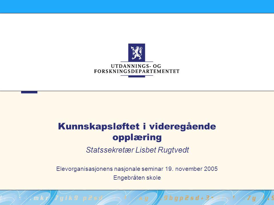 Kunnskapsløftet i videregående opplæring Statssekretær Lisbet Rugtvedt Elevorganisasjonens nasjonale seminar 19.