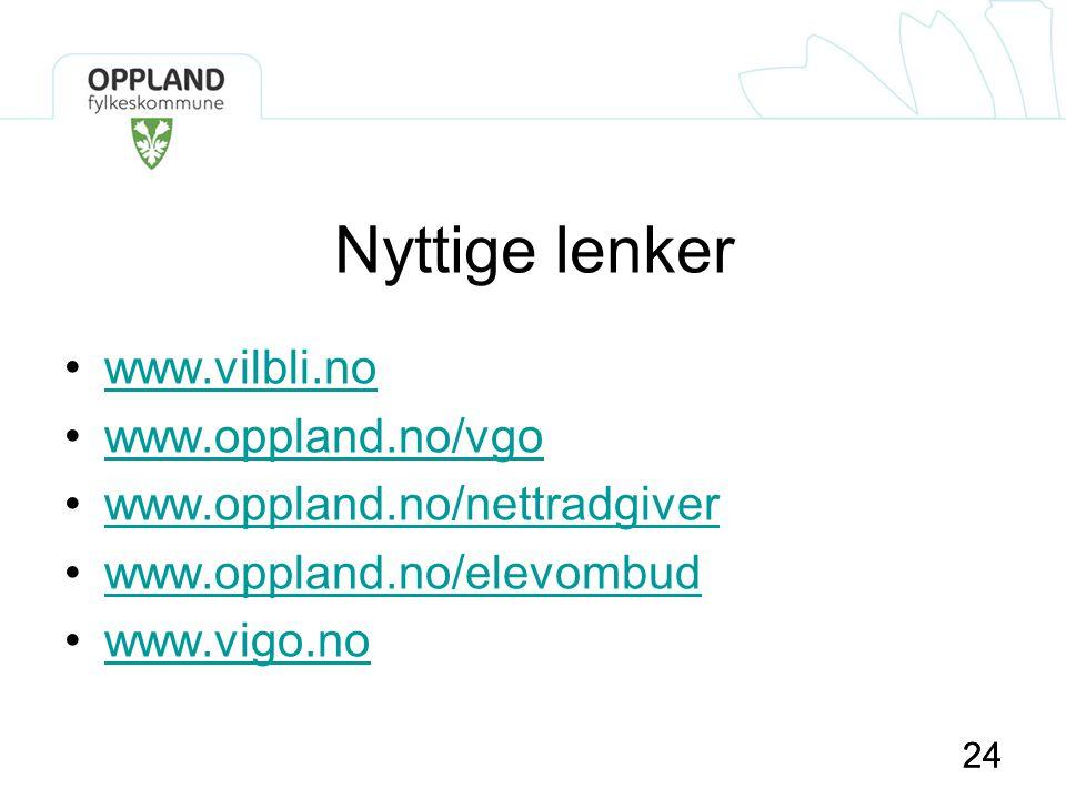 24 Nyttige lenker •www.vilbli.nowww.vilbli.no •www.oppland.no/vgowww.oppland.no/vgo •www.oppland.no/nettradgiverwww.oppland.no/nettradgiver •www.oppla