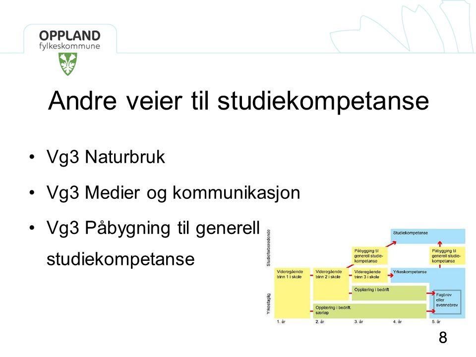 88 Andre veier til studiekompetanse •Vg3 Naturbruk •Vg3 Medier og kommunikasjon •Vg3 Påbygning til generell studiekompetanse