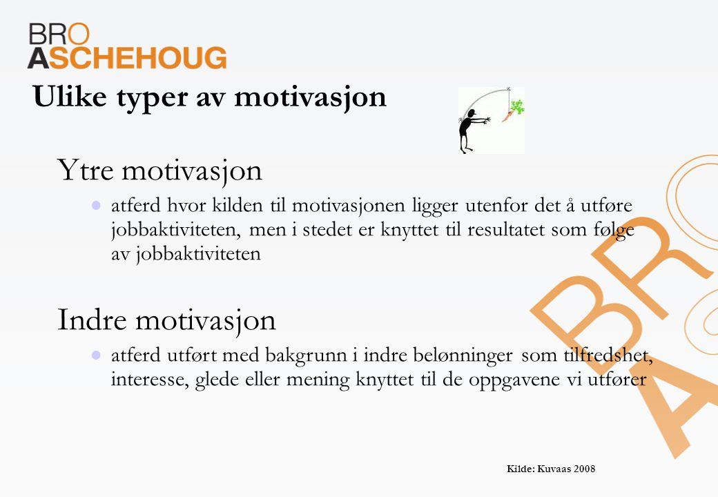 Ulike typer av motivasjon Ytre motivasjon  atferd hvor kilden til motivasjonen ligger utenfor det å utføre jobbaktiviteten, men i stedet er knyttet t