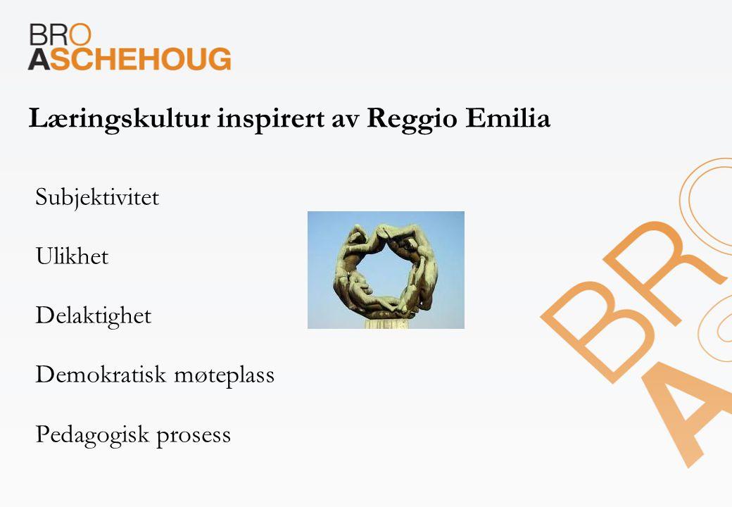 Læringskultur inspirert av Reggio Emilia Subjektivitet Ulikhet Delaktighet Demokratisk møteplass Pedagogisk prosess