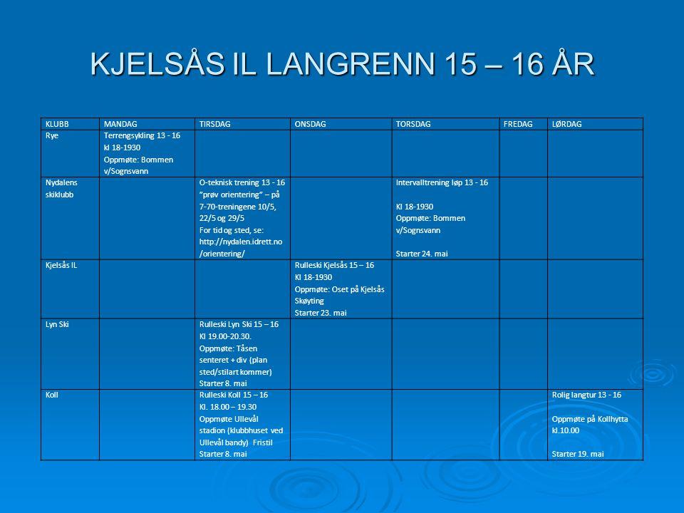 KJELSÅS IL LANGRENN 15 – 16 ÅR KLUBBMANDAGTIRSDAGONSDAGTORSDAGFREDAGLØRDAG Rye Terrengsykling 13 - 16 kl 18-1930 Oppmøte: Bommen v/Sognsvann Nydalens