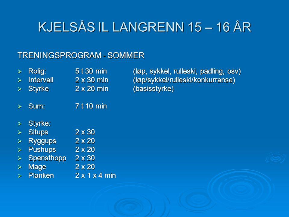 KJELSÅS IL LANGRENN 15 – 16 ÅR TRENINGSPROGRAM - SOMMER  Rolig: 5 t 30 min(løp, sykkel, rulleski, padling, osv)  Intervall2 x 30 min(løp/sykkel/rull