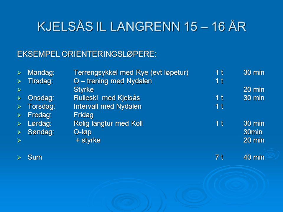 KJELSÅS IL LANGRENN 15 – 16 ÅR EKSEMPEL ORIENTERINGSLØPERE:  Mandag: Terrengsykkel med Rye (evt løpetur)1 t30 min  Tirsdag: O – trening med Nydalen1
