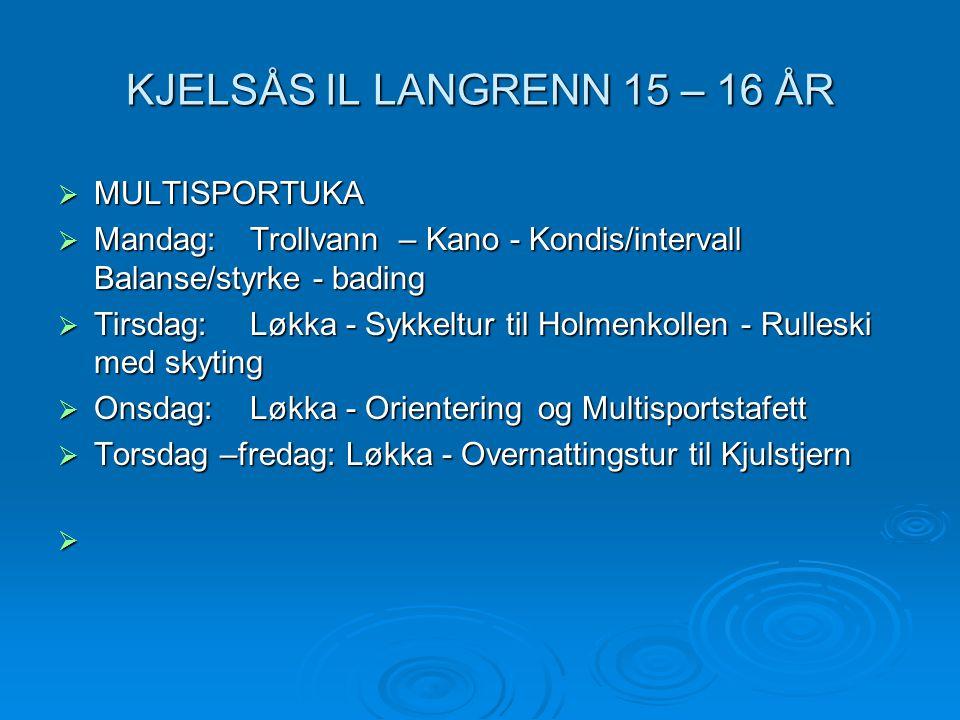 KJELSÅS IL LANGRENN 15 – 16 ÅR  MULTISPORTUKA  Mandag:Trollvann – Kano - Kondis/intervall Balanse/styrke - bading  Tirsdag:Løkka- Sykkeltur til Hol