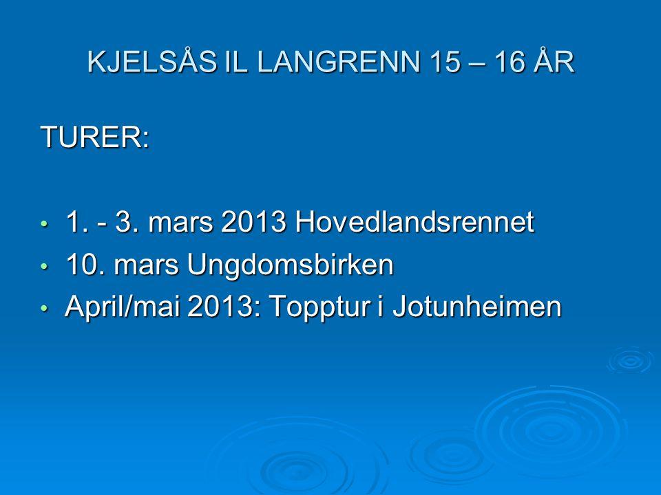 KJELSÅS IL LANGRENN 15 – 16 ÅR TURER: • 1. - 3. mars 2013 Hovedlandsrennet • 10. mars Ungdomsbirken • April/mai 2013: Topptur i Jotunheimen