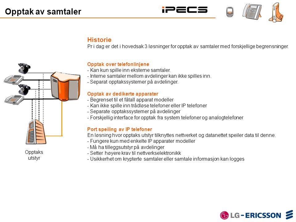 Extension Gateway IPCR Server IP Call Recorder Functional Gateway iPECS Internet Gjør det enkelt IP Call Recorder spiller inn all trafikk.