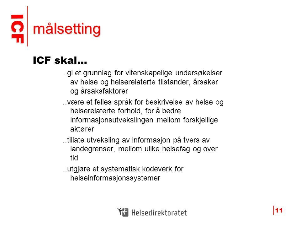 ICF ICF 11 målsetting ICF skal…..gi et grunnlag for vitenskapelige undersøkelser av helse og helserelaterte tilstander, årsaker og årsaksfaktorer..vær