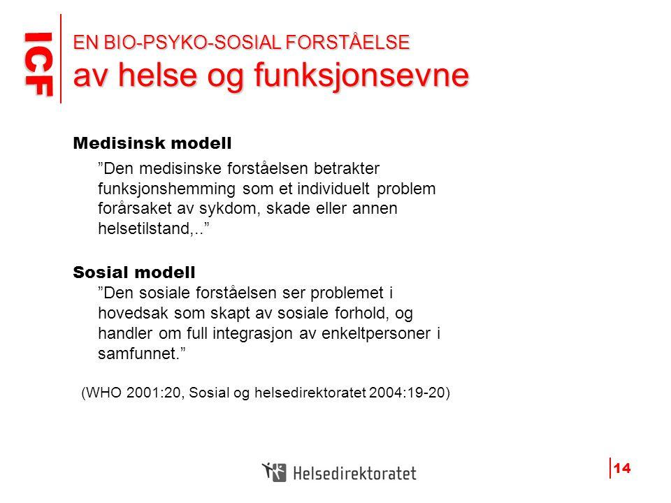 """ICF ICF 14 EN BIO-PSYKO-SOSIAL FORSTÅELSE av helse og funksjonsevne Medisinsk modell """"Den medisinske forståelsen betrakter funksjonshemming som et ind"""
