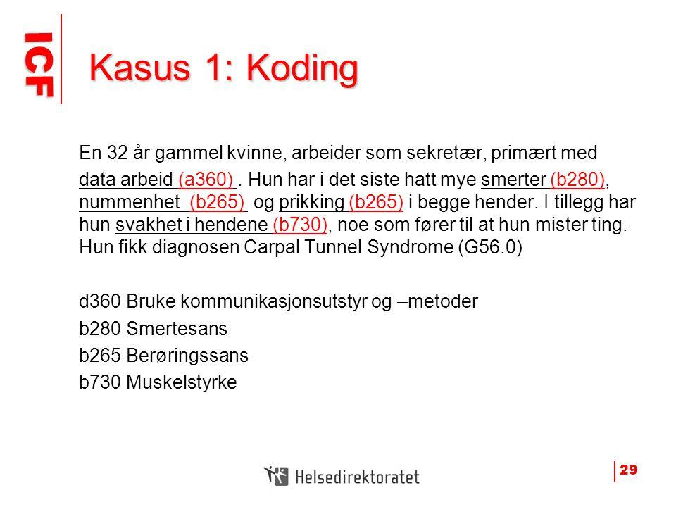 ICF ICF Kasus 1: Koding Kasus 1: Koding En 32 år gammel kvinne, arbeider som sekretær, primært med data arbeid (a360). Hun har i det siste hatt mye sm