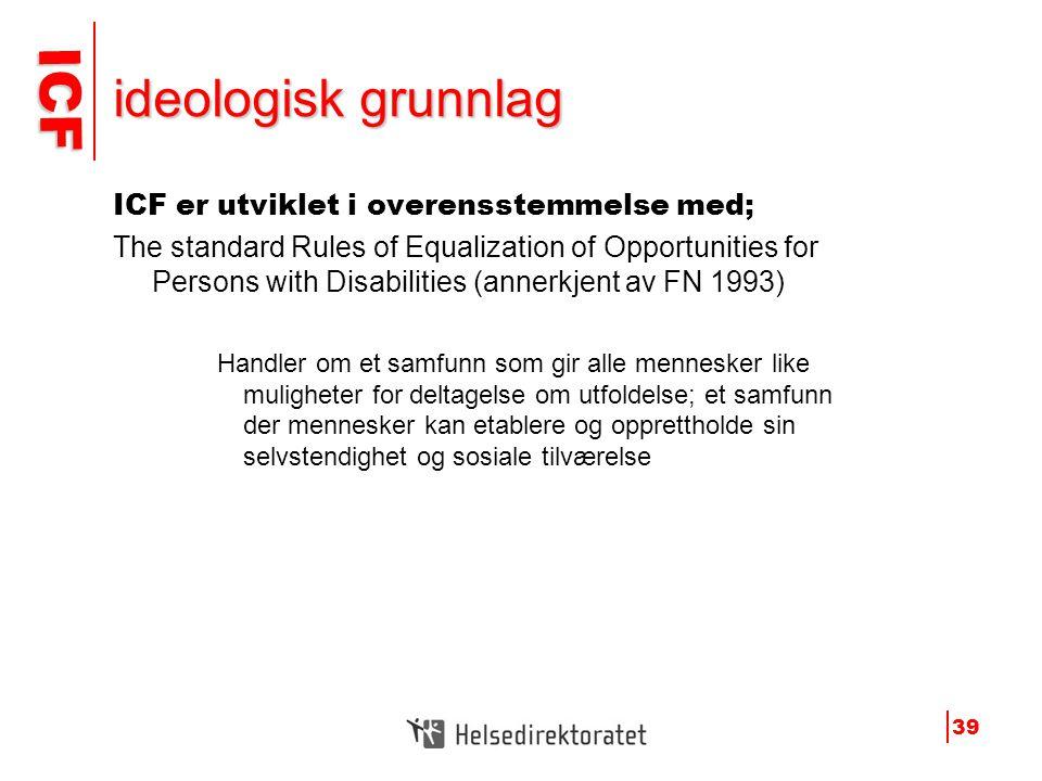 ICF ICF 39 ideologisk grunnlag ICF er utviklet i overensstemmelse med; The standard Rules of Equalization of Opportunities for Persons with Disabiliti