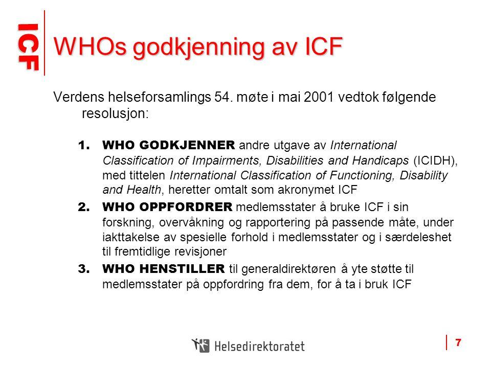 ICF ICF 7 WHOs godkjenning av ICF Verdens helseforsamlings 54. møte i mai 2001 vedtok følgende resolusjon: 1.WHO GODKJENNER andre utgave av Internatio