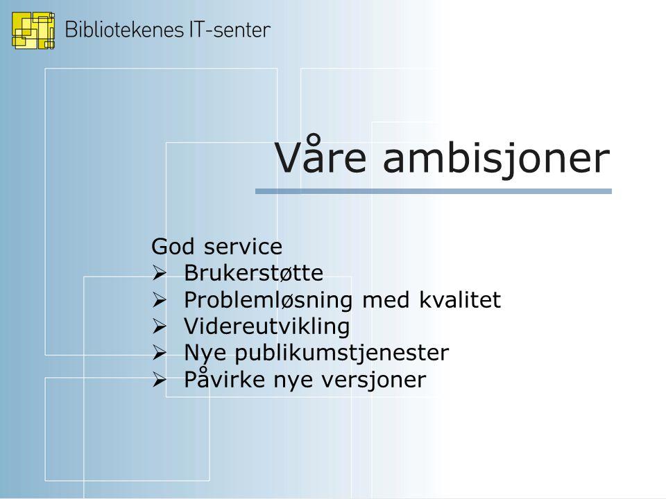 Våre ambisjoner God service  Brukerstøtte  Problemløsning med kvalitet  Videreutvikling  Nye publikumstjenester  Påvirke nye versjoner