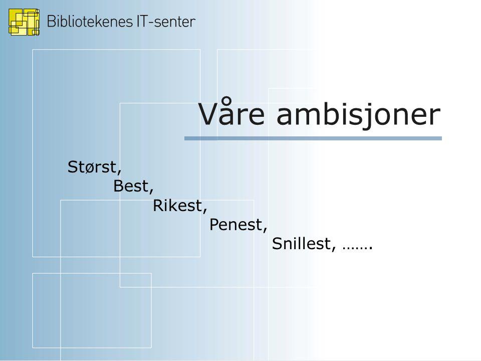Våre ambisjoner Størst, Best, Rikest, Penest, Snillest, …….