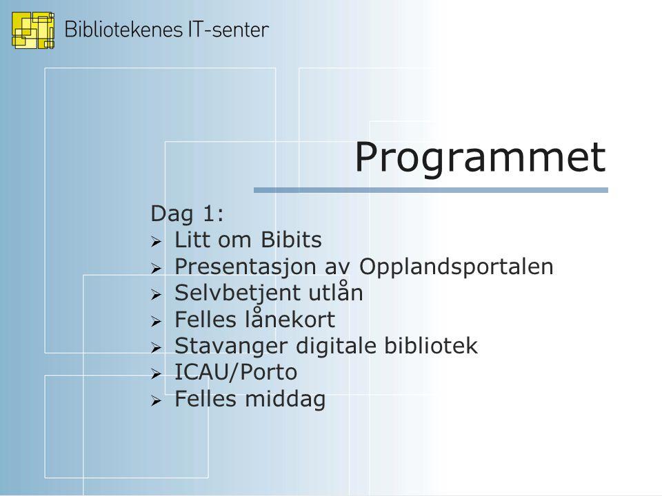 Programmet Dag 1:  Litt om Bibits  Presentasjon av Opplandsportalen  Selvbetjent utlån  Felles lånekort  Stavanger digitale bibliotek  ICAU/Porto  Felles middag
