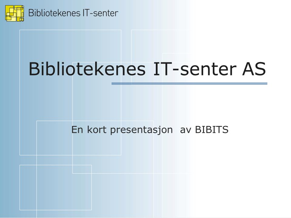 Bibliotekenes IT-senter AS En kort presentasjon av BIBITS