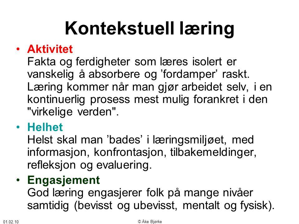 01.02.10 © Åke Bjørke Kontekstuell læring •Aktivitet Fakta og ferdigheter som læres isolert er vanskelig å absorbere og 'fordamper' raskt.