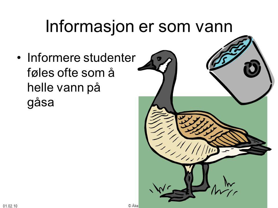 01.02.10 © Åke Bjørke Informasjon er som vann •Informere studenter føles ofte som å helle vann på gåsa