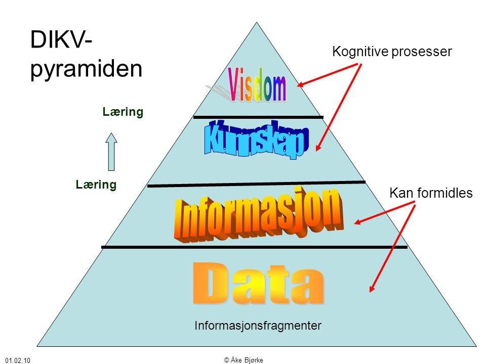 01.02.10 © Åke Bjørke Informasjonsfragmenter DIKV- pyramiden Kan formidles Kognitive prosesser Læring