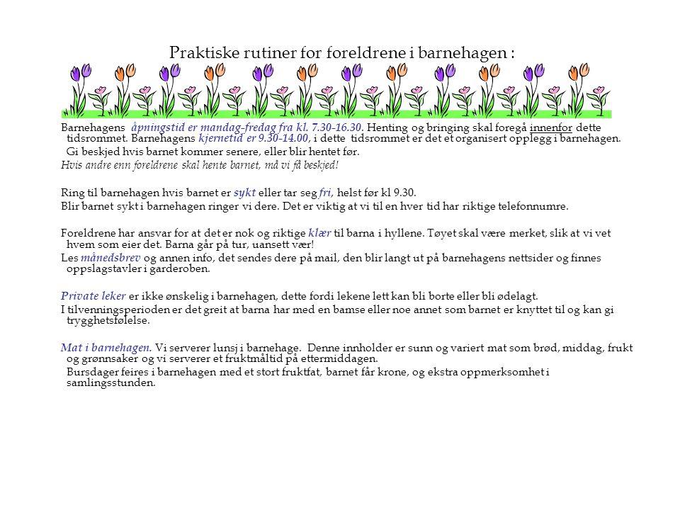 Praktiske rutiner for foreldrene i barnehagen : Barnehagens åpningstid er mandag-fredag fra kl. 7.30-16.30. Henting og bringing skal foregå innenfor d