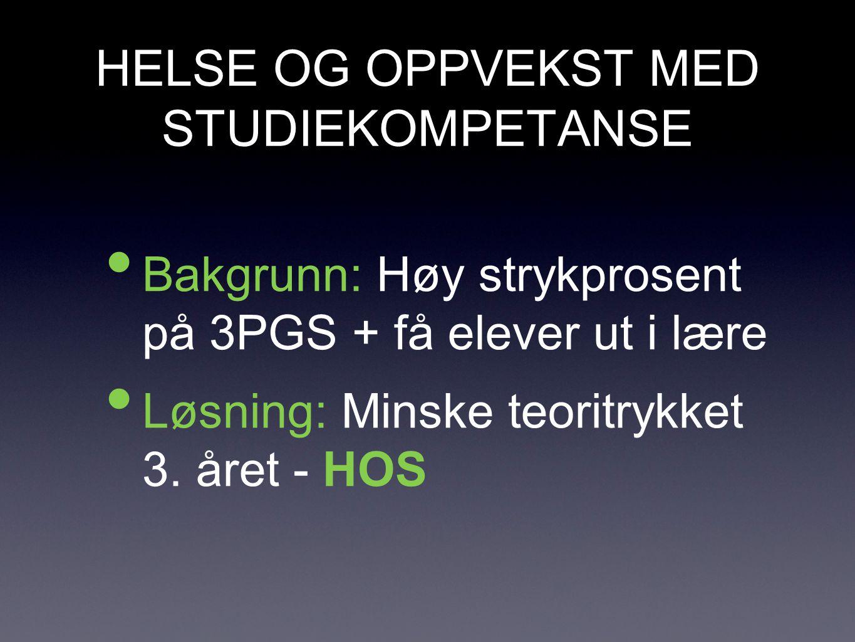 HELSE OG OPPVEKST MED STUDIEKOMPETANSE • Bakgrunn: Høy strykprosent på 3PGS + få elever ut i lære • Løsning: Minske teoritrykket 3.
