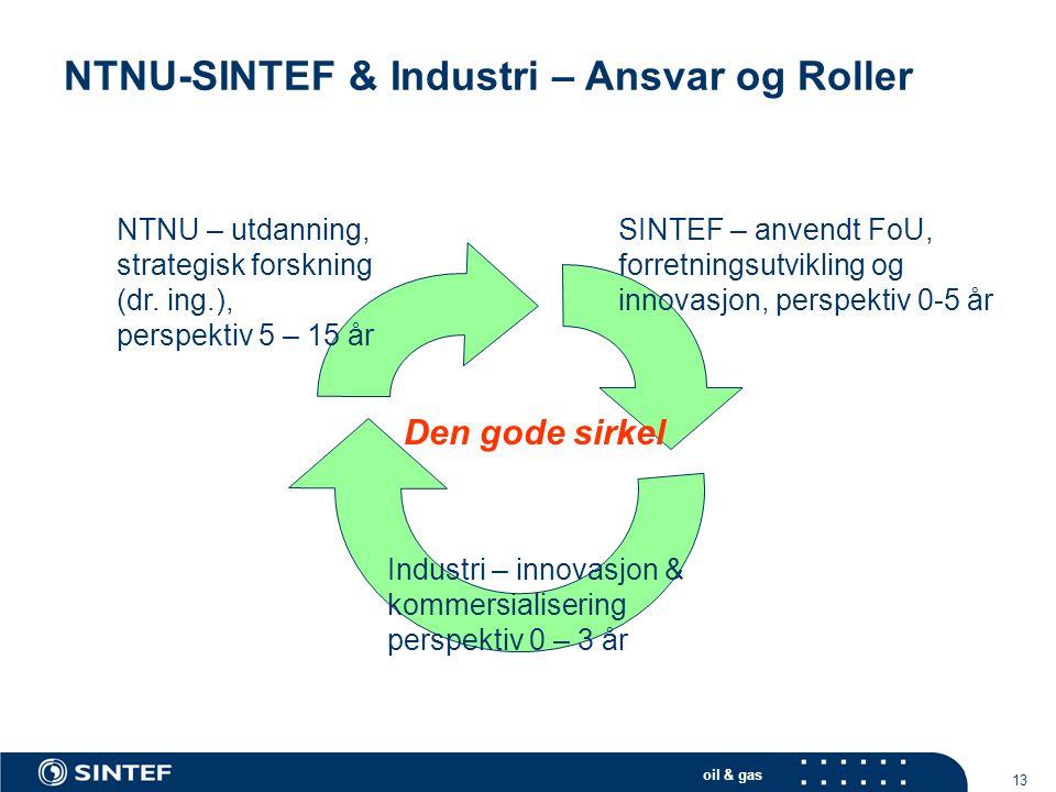 oil & gas 13 NTNU-SINTEF & Industri – Ansvar og Roller NTNU – utdanning, strategisk forskning (dr. ing.), perspektiv 5 – 15 år SINTEF – anvendt FoU, f