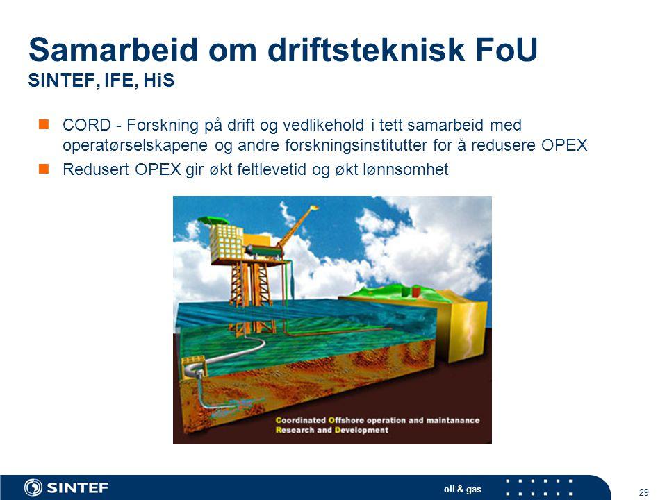 oil & gas 29  CORD - Forskning på drift og vedlikehold i tett samarbeid med operatørselskapene og andre forskningsinstitutter for å redusere OPEX  R