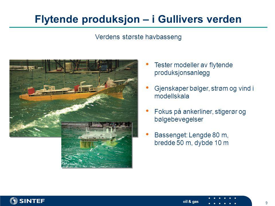 oil & gas 9 Flytende produksjon – i Gullivers verden • Tester modeller av flytende produksjonsanlegg • Gjenskaper bølger, strøm og vind i modellskala