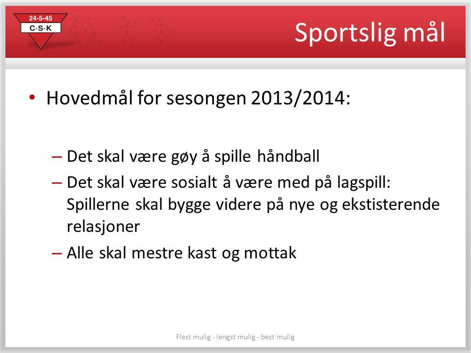 Sportslig mål • Hovedmål for sesongen 2013/2014: – Det skal være gøy å spille håndball – Det skal være sosialt å være med på lagspill: Spillerne skal