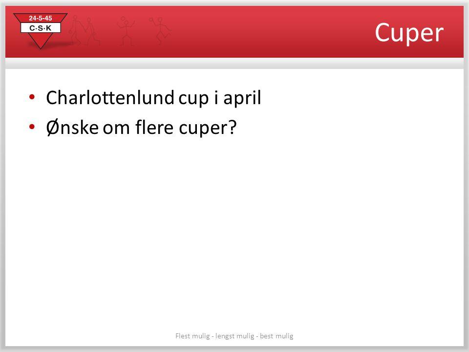 Cuper • Charlottenlund cup i april • Ønske om flere cuper? Flest mulig - lengst mulig - best mulig