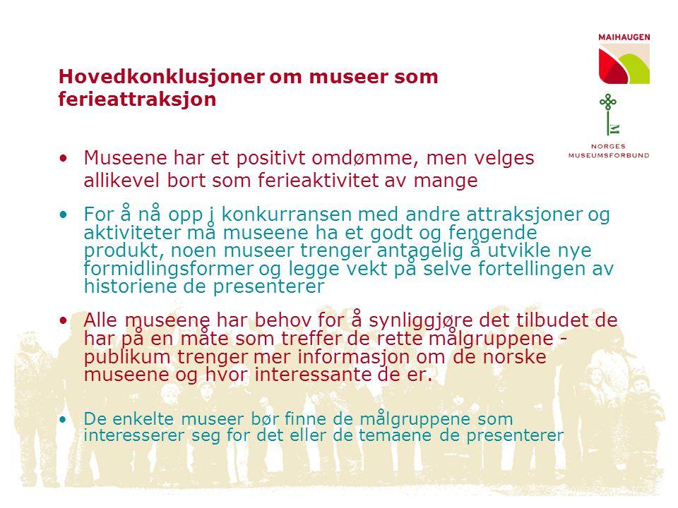 Hovedkonklusjoner om museer som ferieattraksjon •Museene har et positivt omdømme, men velges allikevel bort som ferieaktivitet av mange •For å nå opp