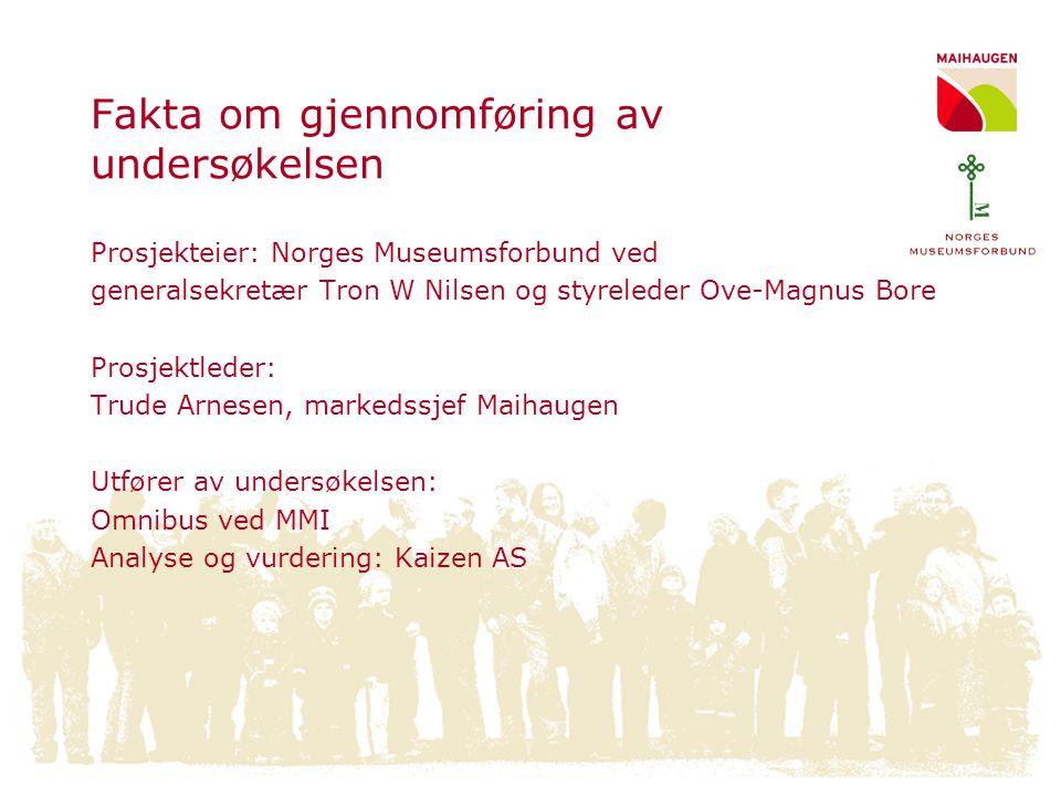 Fakta om gjennomføring av undersøkelsen Prosjekteier: Norges Museumsforbund ved generalsekretær Tron W Nilsen og styreleder Ove-Magnus Bore Prosjektle
