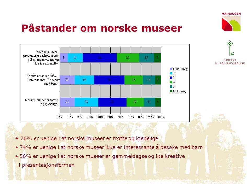 Påstander om museene Flere er enige i de positive formulering av påstander om museene •61% er enig i at norske museer tilbyr attraktive utstillinger •60% er enig i norske museer er spennende –MEN, 72% besøker sjelden eller aldri museer i ferien Færre er enige i de negative formulering av påstander om museene •45% er enig i museene tilbyr aktive opplevelser •36% er enig i at museer ikke er interessante å besøke med barn •44% er enige i at norske museer er gammeldagse og lite kreative i presentasjonsformen –OG, nesten halvparten av de som sjelden eller aldri besøker museer i ferien sier at dette er fordi de vet for lite om museenes tema og innhold UTFORDING •Å øke publikums kunnskap om hva museene kan tilby •Å variere markedsføringen ut til publikum