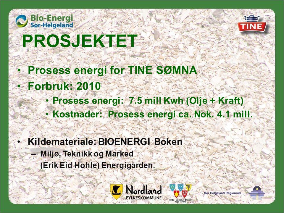 PROSJEKTET •Prosess energi for TINE SØMNA •Forbruk: 2010 •Prosess energi: 7.5 mill Kwh (Olje + Kraft) •Kostnader: Prosess energi ca.