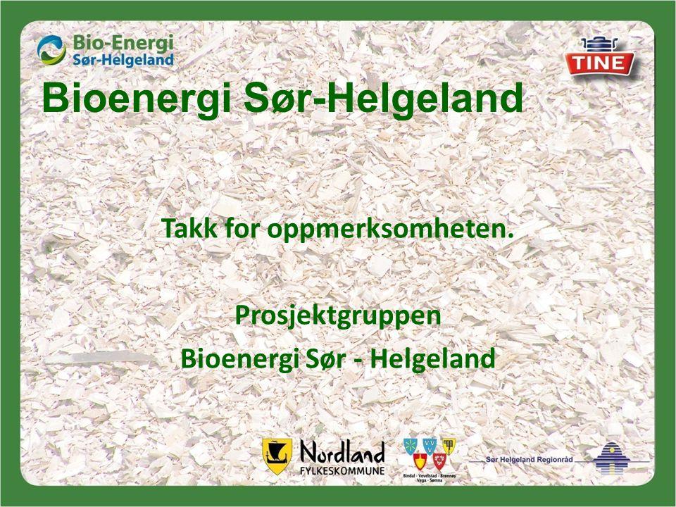 Bioenergi Sør-Helgeland Takk for oppmerksomheten. Prosjektgruppen Bioenergi Sør - Helgeland