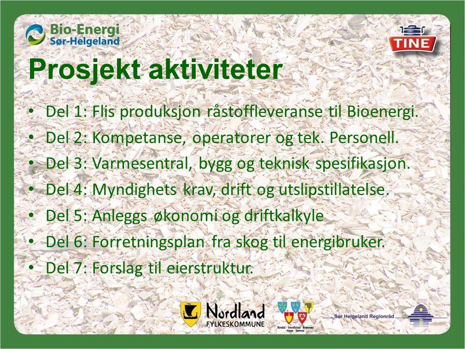 Prosjekt aktiviteter • Del 1: Flis produksjon råstoffleveranse til Bioenergi.