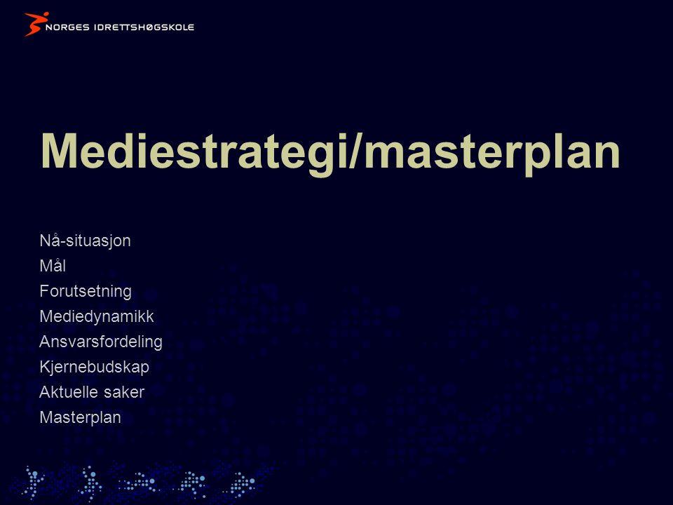 Mediestrategi/masterplan Nå-situasjon Mål Forutsetning Mediedynamikk Ansvarsfordeling Kjernebudskap Aktuelle saker Masterplan