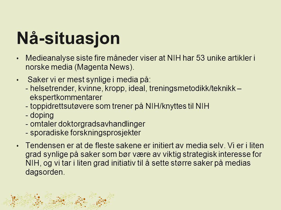 Nå-situasjon • Medieanalyse siste fire måneder viser at NIH har 53 unike artikler i norske media (Magenta News). • Saker vi er mest synlige i media på