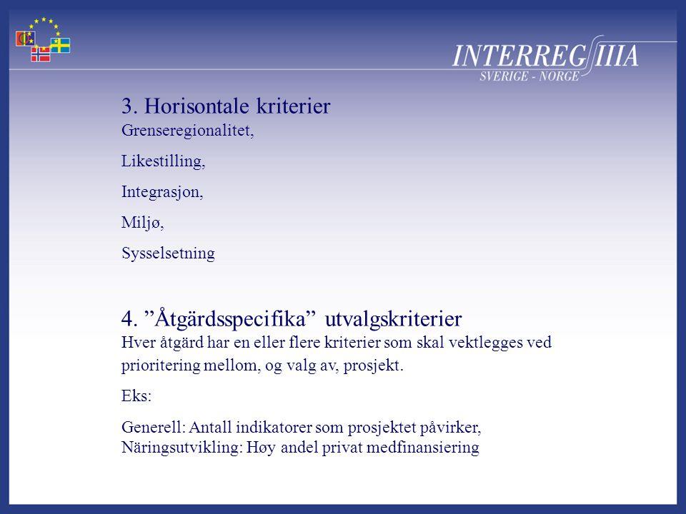 """3. Horisontale kriterier Grenseregionalitet, Likestilling, Integrasjon, Miljø, Sysselsetning 4. """"Åtgärdsspecifika"""" utvalgskriterier Hver åtgärd har en"""