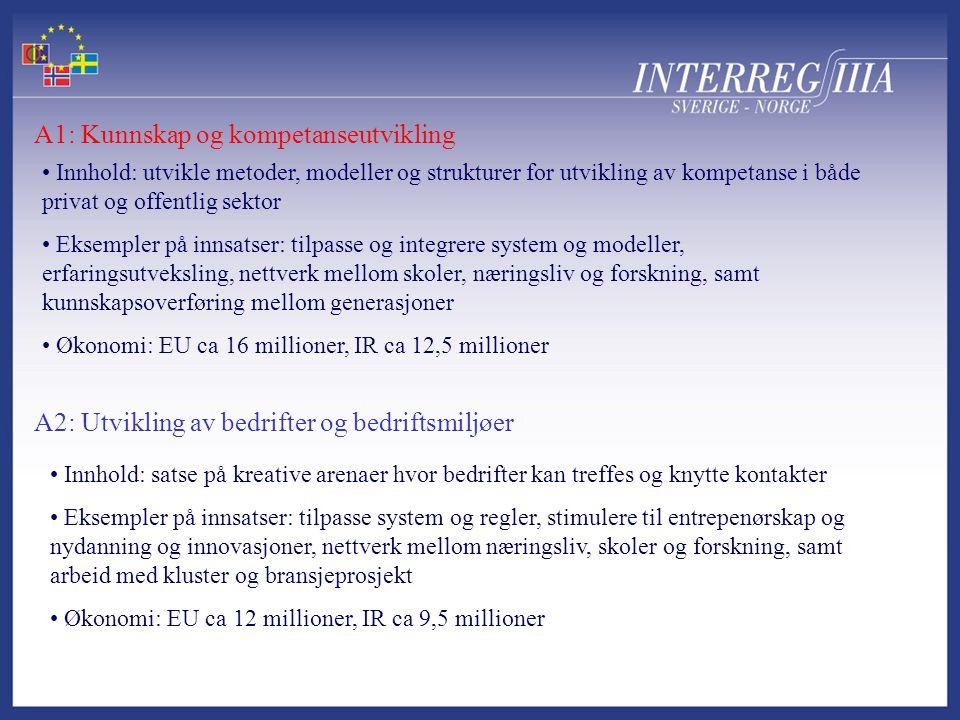 A1: Kunnskap og kompetanseutvikling A2: Utvikling av bedrifter og bedriftsmiljøer • Innhold: utvikle metoder, modeller og strukturer for utvikling av kompetanse i både privat og offentlig sektor • Eksempler på innsatser: tilpasse og integrere system og modeller, erfaringsutveksling, nettverk mellom skoler, næringsliv og forskning, samt kunnskapsoverføring mellom generasjoner • Økonomi: EU ca 16 millioner, IR ca 12,5 millioner • Innhold: satse på kreative arenaer hvor bedrifter kan treffes og knytte kontakter • Eksempler på innsatser: tilpasse system og regler, stimulere til entrepenørskap og nydanning og innovasjoner, nettverk mellom næringsliv, skoler og forskning, samt arbeid med kluster og bransjeprosjekt • Økonomi: EU ca 12 millioner, IR ca 9,5 millioner