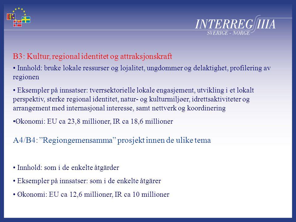 A4/B4: Regiongemensamma prosjekt innen de ulike tema B3: Kultur, regional identitet og attraksjonskraft • Innhold: bruke lokale ressurser og lojalitet, ungdommer og delaktighet, profilering av regionen • Eksempler på innsatser: tverrsektorielle lokale engasjement, utvikling i et lokalt perspektiv, sterke regional identitet, natur- og kulturmiljøer, idrettsaktiviteter og arrangement med internasjonal interesse, samt nettverk og koordinering •Økonomi: EU ca 23,8 millioner, IR ca 18,6 millioner • Innhold: som i de enkelte åtgärder • Eksempler på innsatser: som i de enkelte åtgärer • Økonomi: EU ca 12,6 millioner, IR ca 10 millioner