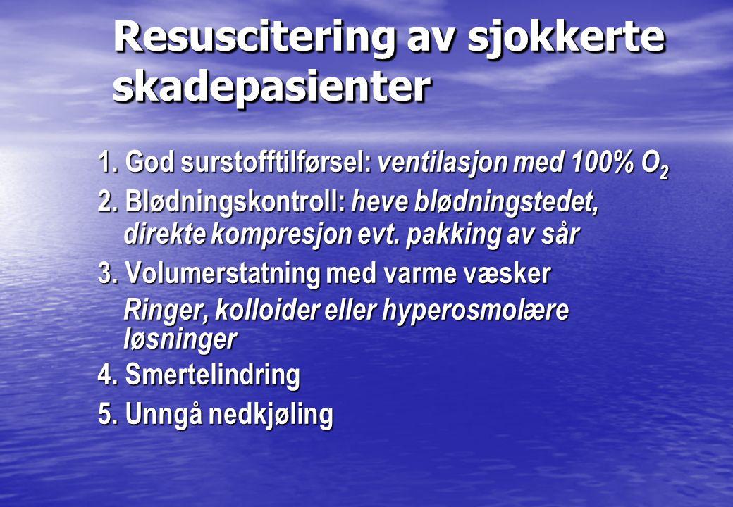 Resuscitering av sjokkerte skadepasienter 1. God surstofftilførsel: ventilasjon med 100% O 2 2. Blødningskontroll: heve blødningstedet, direkte kompre