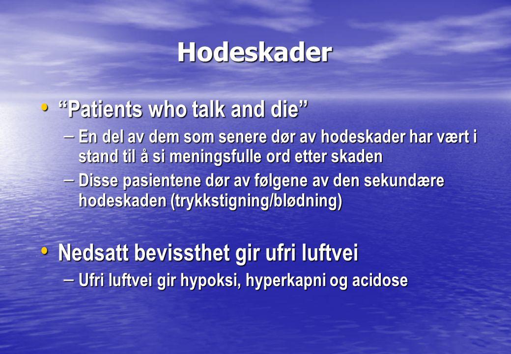 """Hodeskader Hodeskader • """"Patients who talk and die"""" – En del av dem som senere dør av hodeskader har vært i stand til å si meningsfulle ord etter skad"""