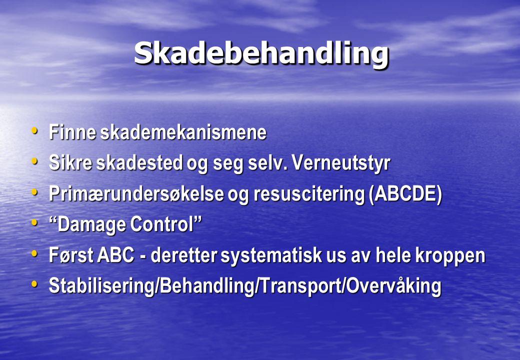 """Skadebehandling Skadebehandling • Finne skademekanismene • Sikre skadested og seg selv. Verneutstyr • Primærundersøkelse og resuscitering (ABCDE) • """"D"""