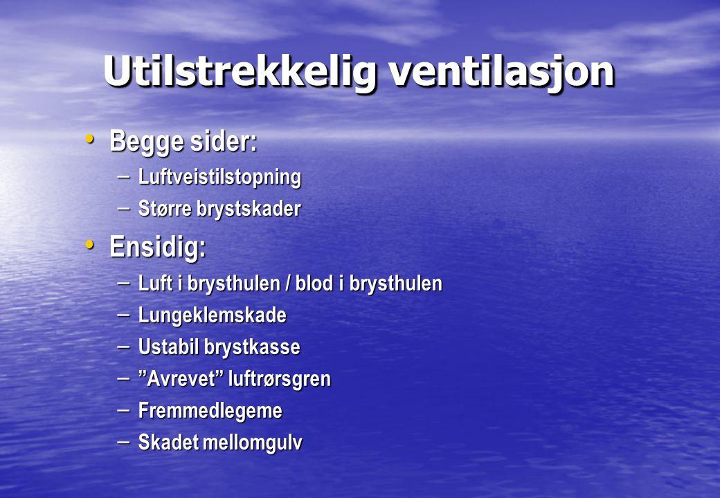 Utilstrekkelig ventilasjon Utilstrekkelig ventilasjon • Begge sider: – Luftveistilstopning – Større brystskader • Ensidig: – Luft i brysthulen / blod